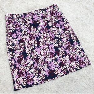 Purple white blue j crew floral pencil skirt Sz 10
